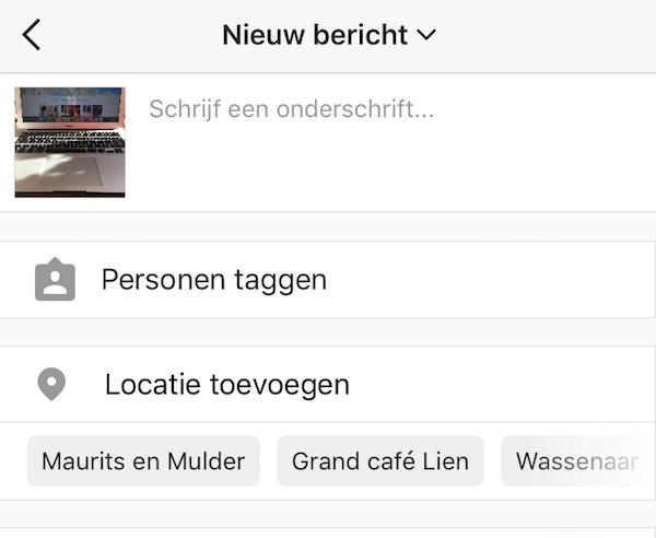 Instagram locatie toevoegen
