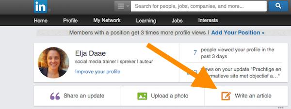 lukt niet om te bloggen op LinkedIn