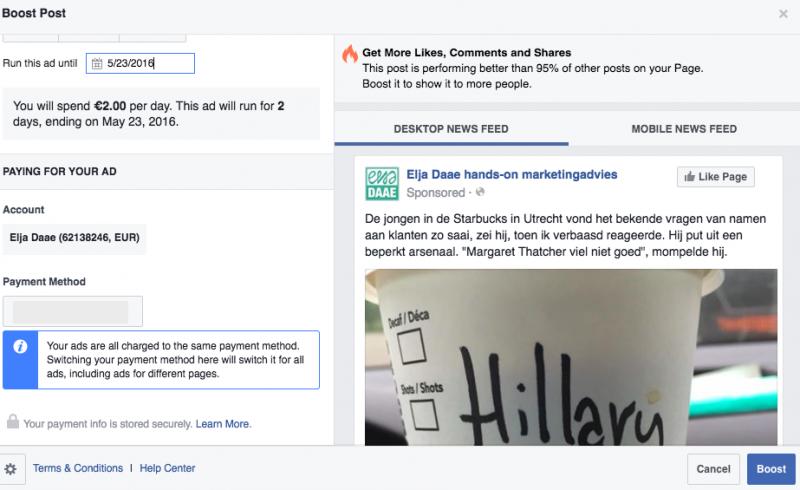 Facebook update promoten