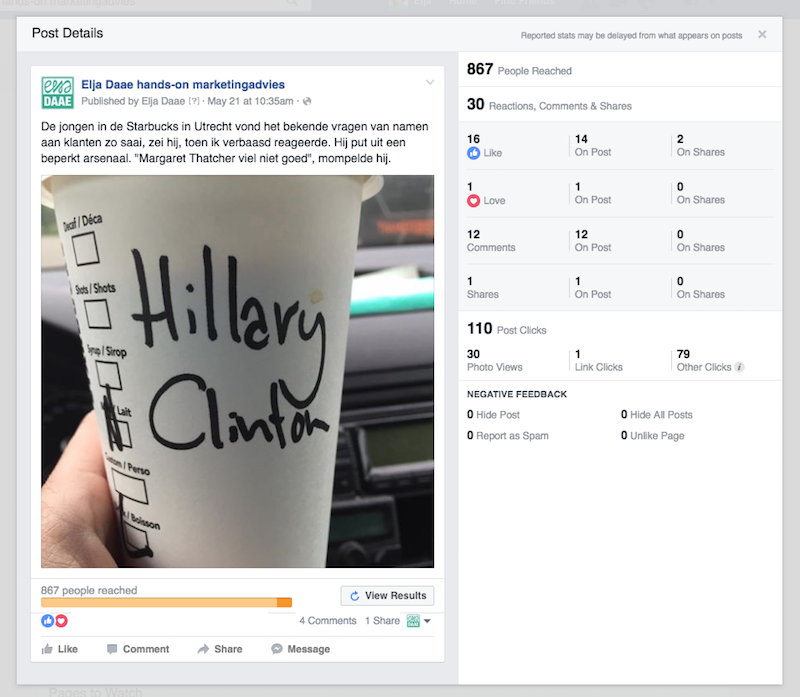 facebook update promoten resultaten