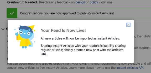 facebook instant articles live