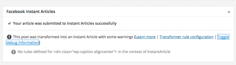 facebook instant articles plugin info