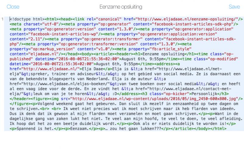 html code facebook instant articles bewerken