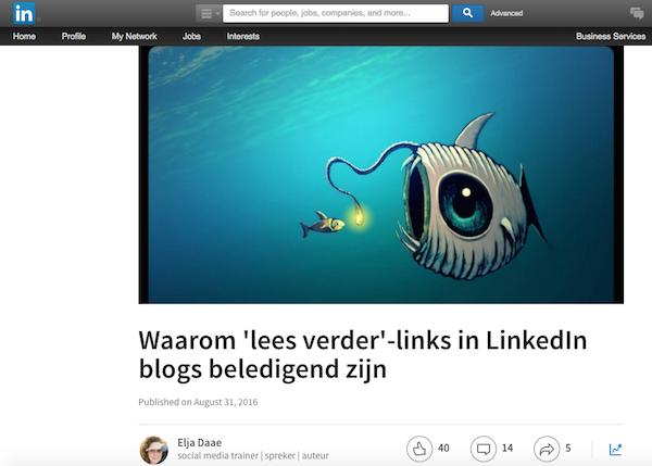 Bloggen op LinkedIn gebruik afbeeldingen
