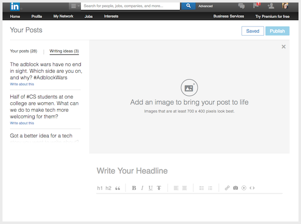 Bloggen op LinkedIn