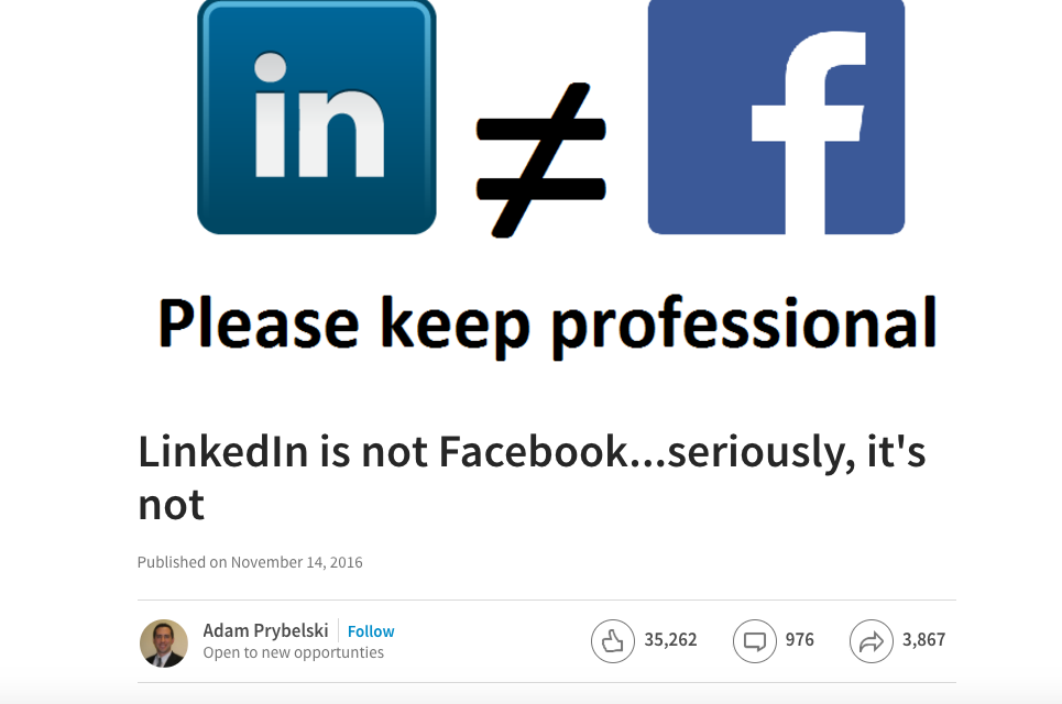 LinkedIn is geen Facebook