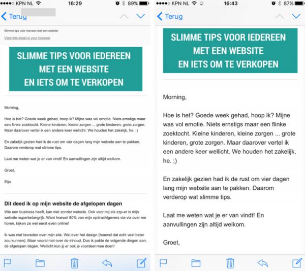 mailchimp niet leesbaar smart phone