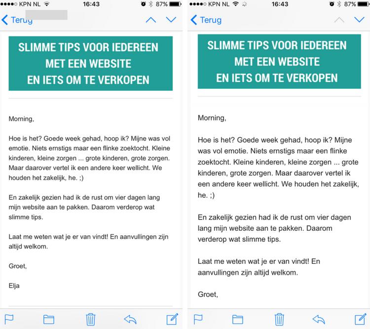 mailchimp nieuwsbrief onleesbaar