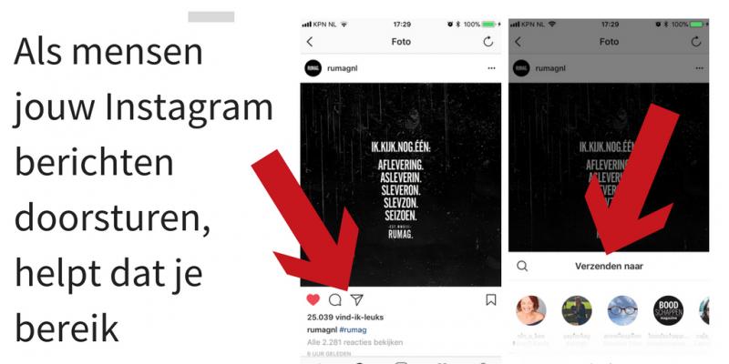 Instagramberichten doorsturen