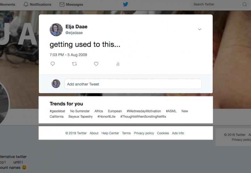 elja's eerste tweet