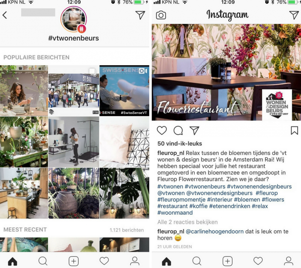 instagram voor vakbeurs