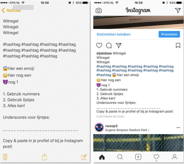 tekst van Instagramberichten opmaken
