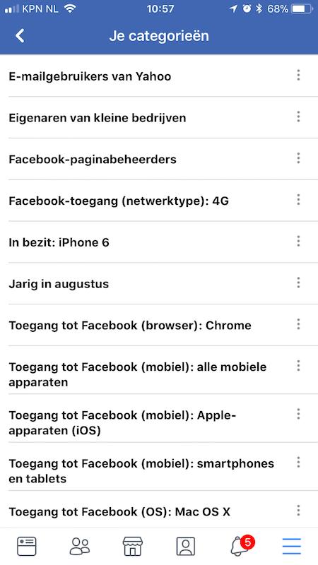 facebook data profiel