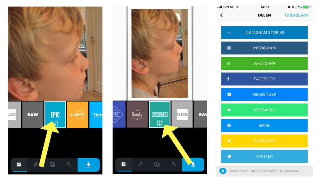 vierkante video voor social media met quik app