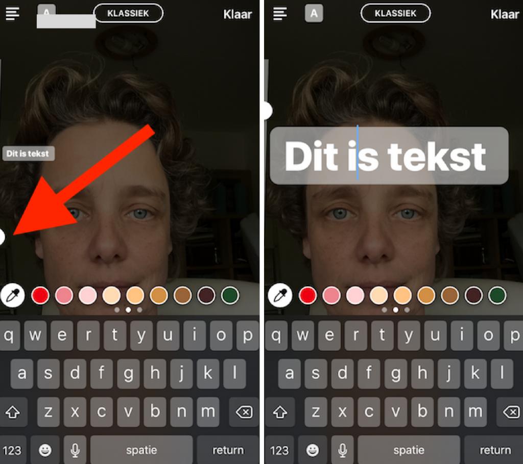 Instagram stories tekst grootte wijzigen