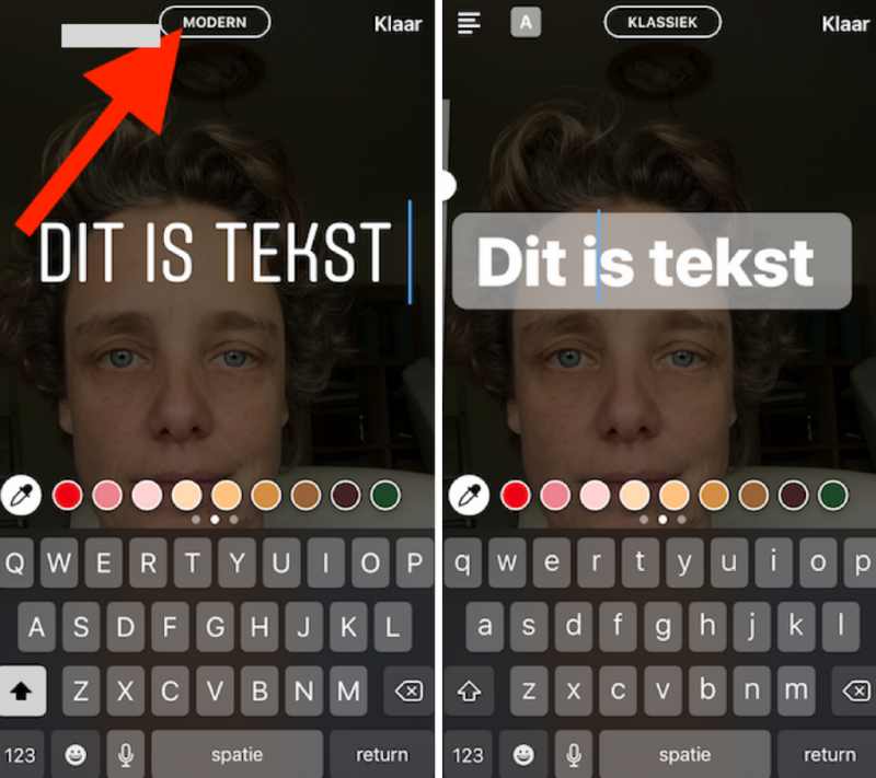 Instagram stories tekst lettertype wijzigen