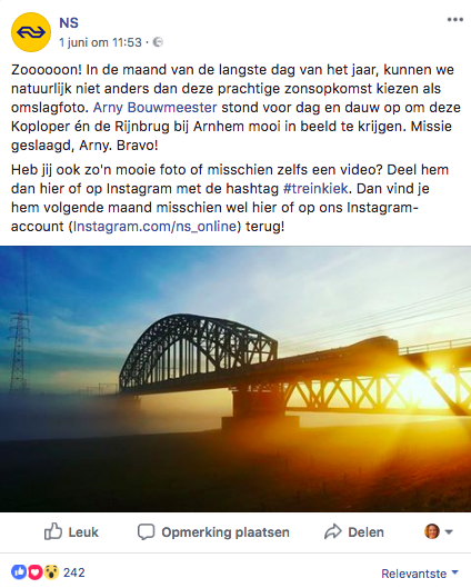 NS Facebook contentstrategie