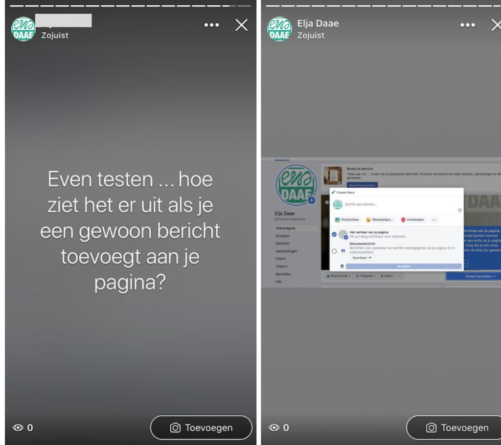 Facebook stories voor bedrijven desktop