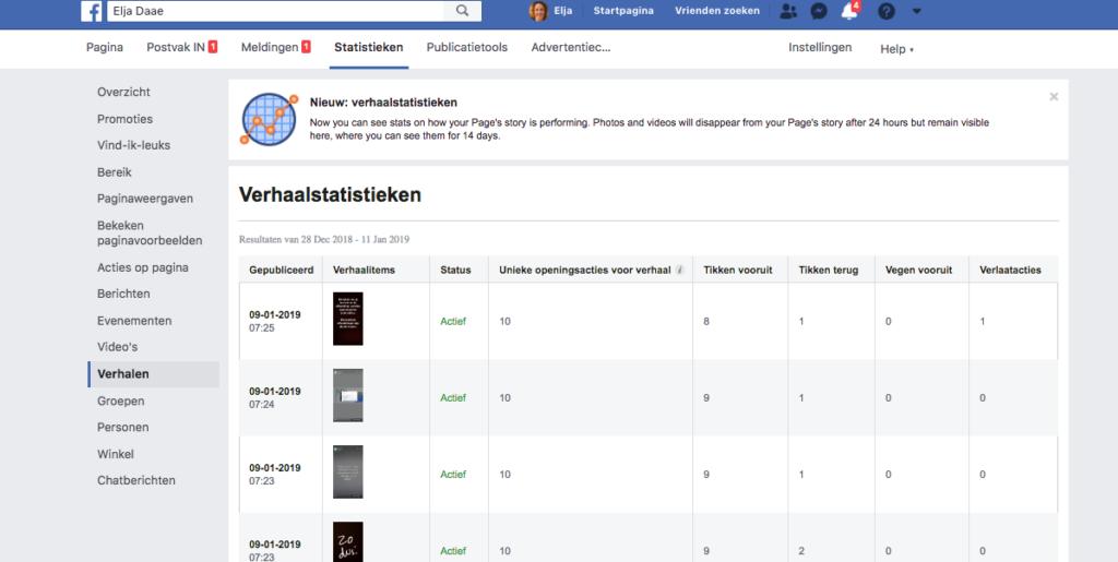 statistieken facebook stories voor bedrijven