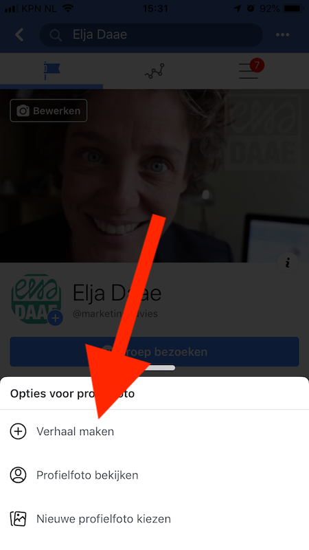 stories maken facebookpagina
