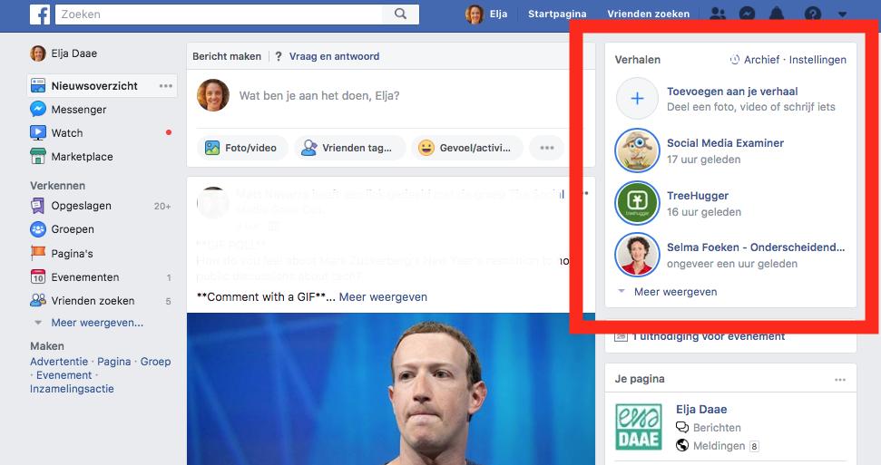waar vind je facebook stories desktop app