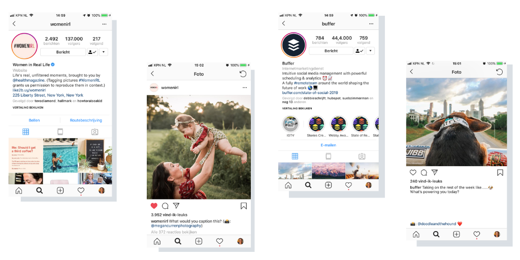 Instagramcontent voorbeelden user generated content