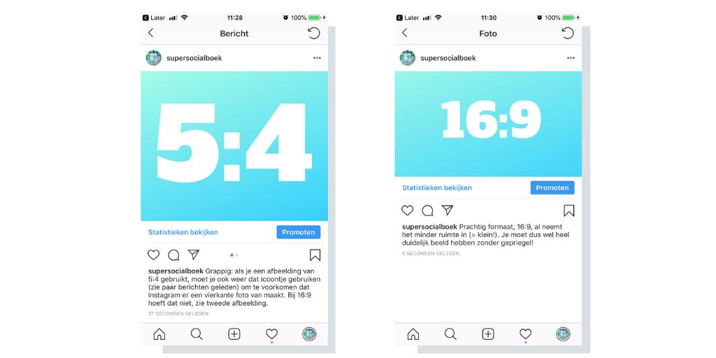 2 horizontale afmetingen voor Instagram
