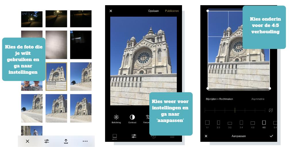 verticale fotos maken Instagram vsco