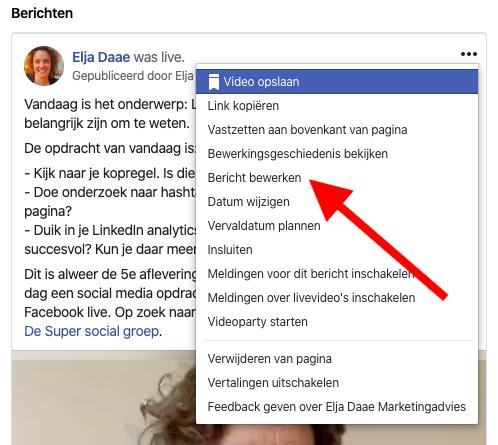 Facebook live video bericht bewerken