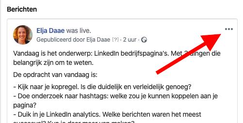 Facebook live videobericht bewerken