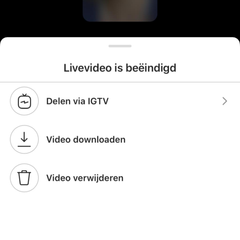 Instagram live als IGTV video