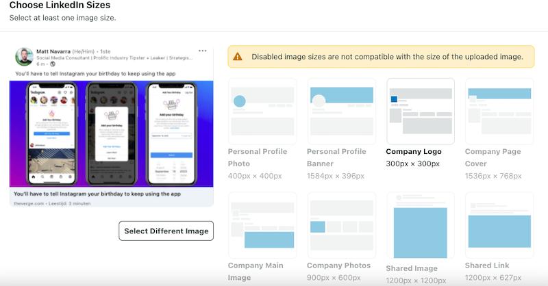 LinkedIn formaat afbeeldingen