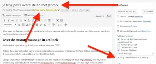 custom message aanpassen jetpack sharing