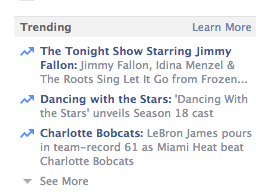 Facebook trending topics