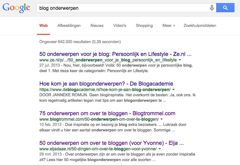 blogonderwerpen zoekmachine