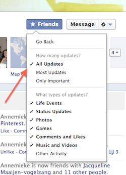Facebook vrienden: alle updates tonen