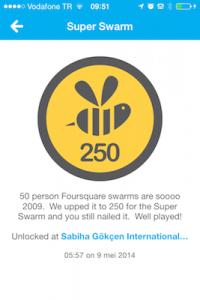 foursquare super swarm badget locatie