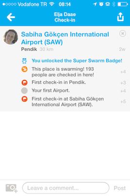 foursquare checkin vliegveld locatie