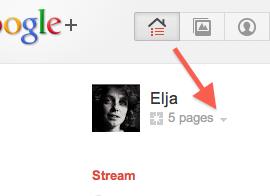 google+ kies pagina voor starten hangout als bedrijf