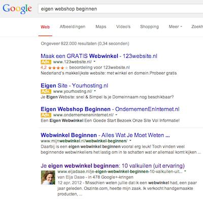 zoekresultaten Google eigen webshop beginnen